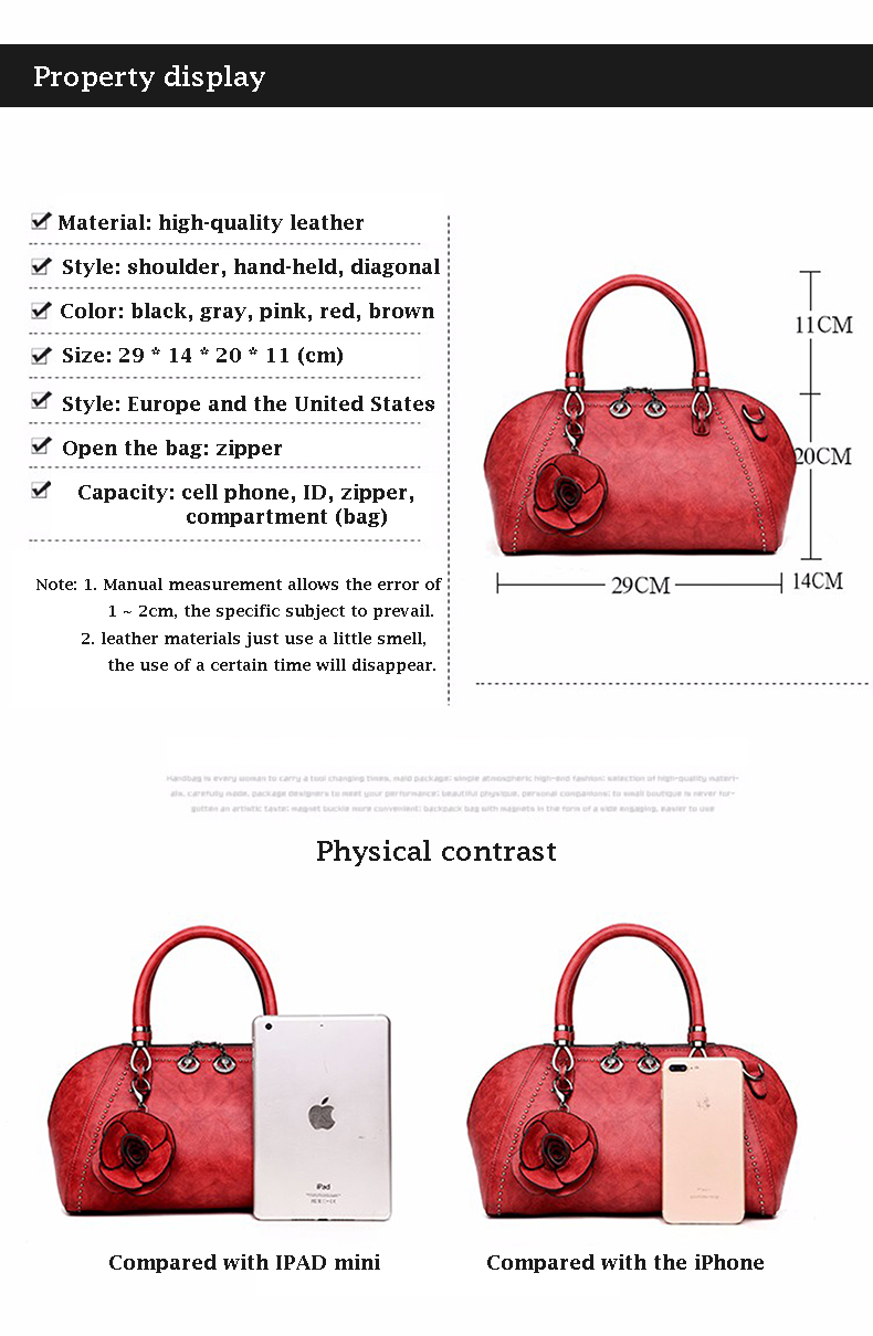 2017 New Arrival Leather Bags Women Bag Luxury Brand Ladies Tote Shoulder Messenger Bags Lock New Fashion Flowers High Quality