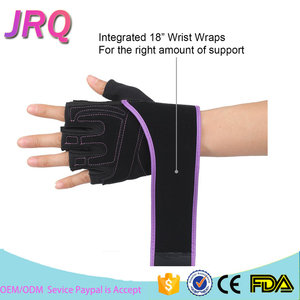 Wholesale Half Finger Leather Gym Gloves Elastic Wrist Wraps Crossfit Weight Lifting Gloves