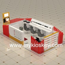 Customized red mall beauty eyebrow threading kiosk design
