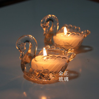 Crystal Swan shaped birthday candle container/glass tealight holder