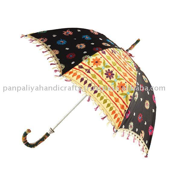 Exotic Sweet Umbrellas in tribal embroideries from India- indian handmade traditional parasols