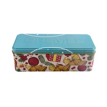Custom food grade rectangular metal tin box container with biscuit package cookie tin can