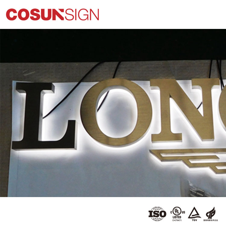 CosunSign led stainless steel logo sign for coffee shop and for pizza shop sign