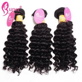 Double Drawn Real Human Black Curly Hair Extensions Weaves 9A Machine Made Weft In Stock