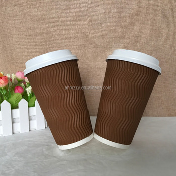 16oz ripple wall corrugation paper cup with ps lid