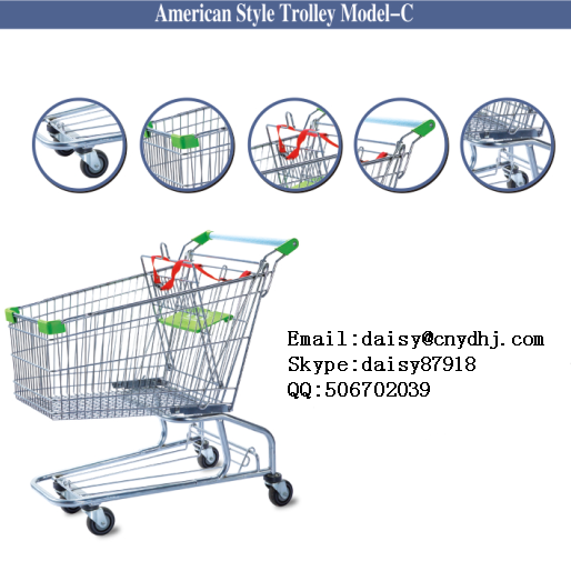 Supermarket hand wheeled steel cheap shopping trolley