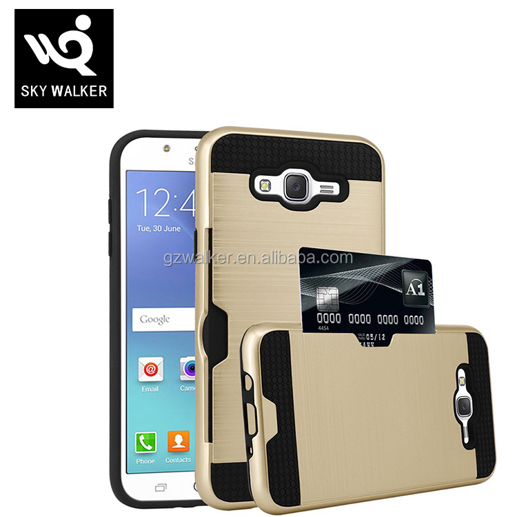 2 in 1 Hard PC+TPU Mobile Phone Case With Card Slot Back Cover For Samsung galaxy j7 2016