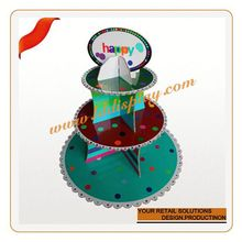 Customized 2 layer wholesale glass cake stand rotating display turntable stand