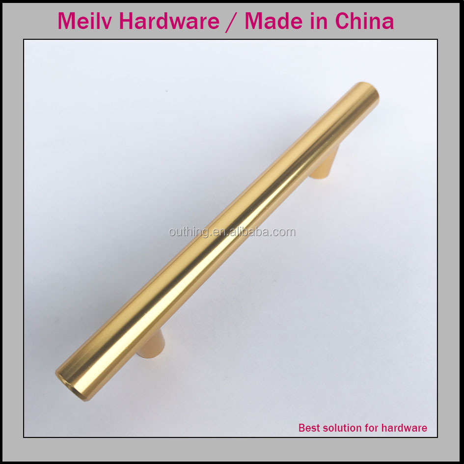 China stainless steel furniture amerian brass cabinet drawer gold T bar handle