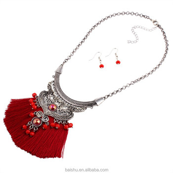 2018 New Bohemian Jewelry Sets women Crystal Line Tassel Necklace Choker Necklace Vintage Ethnic Maxi Necklace earring sets