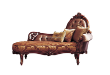 Luxury French Style Antique Chaise Lounge/Hand Carved Classical Mahogany Wood Living Room Furniture