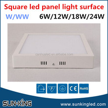 High power 6 inch smd2835 6500k 3000k surface ceiling mounted led panel light 12W
