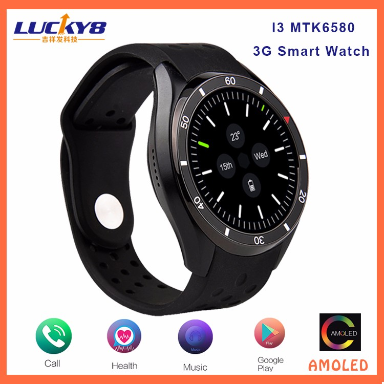 I3 Amoled 8GB Android smart watch, MTK6580 Quad Core 3G smart watch android 5.1 wifi GPS 3G Watch Phone
