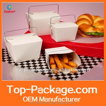 Chinese take-out boxes with wire handles popular style packaging box /paper packaging box