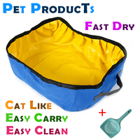 Foldable Blue Cat Cats Litter Box Scoop Tray Kit stocked handy easy clean fast dry for travel