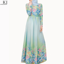 2018 KJ high quality fashion dubai women abaya chiffon printed fabric muslim clothing
