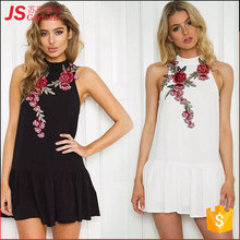 JS 20 Applique Flower Stand Collar Open to Back Lady Simple Dress New Fashion Thailand Embroidery Dress 1149
