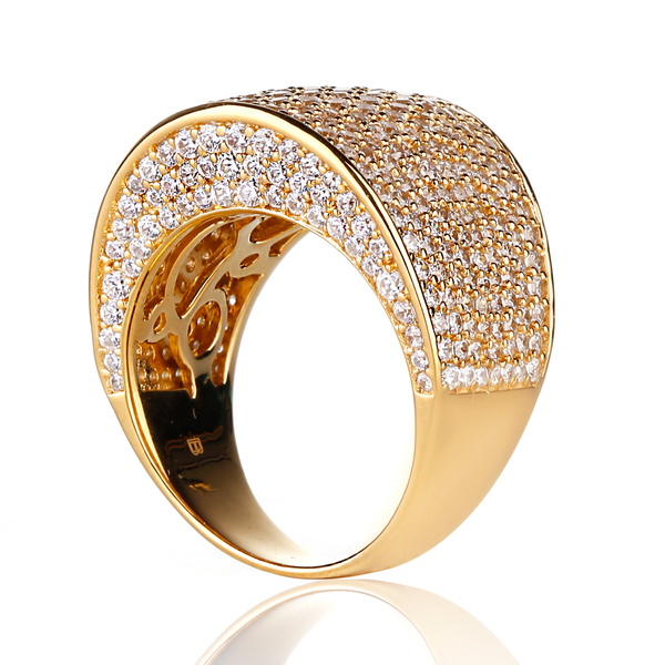 Ladies big gold over 925 silver cz thailand statement ring