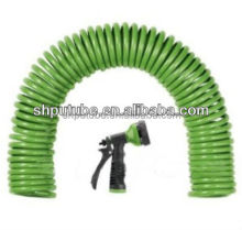 50FT Polyurethane GARDEN COILED HOSE W/NPT Plastic Connectors and Six Spray Patterns for gardenning/Garden hose