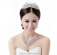 new coming wedding crystal peacock style silver jewelry set wholesale