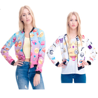 2016 New London Fashion Week Street Style Clothing Women Emoji Varsity Bomber Jacket