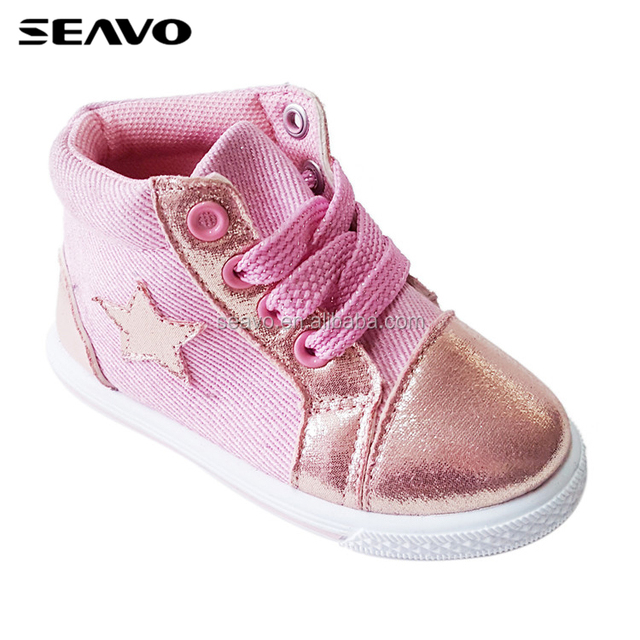 SEAVO SS18 new model ankle length style cheap injection pink kids canvas shoes