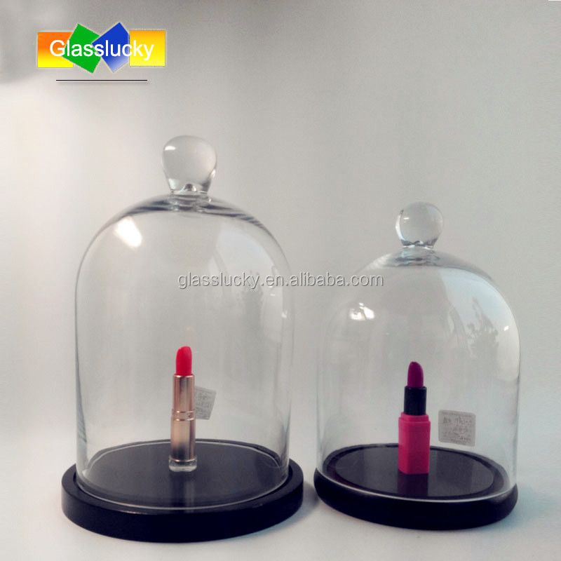 Clear bell jars glass domes wholesale as glass dome cloche with wood base