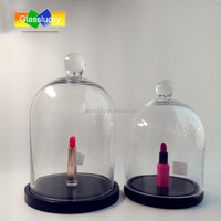 Glass bell jars wholesale as glass dome cloche with wood base