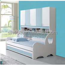 Child living room furniture wooden bed blue color with shelves
