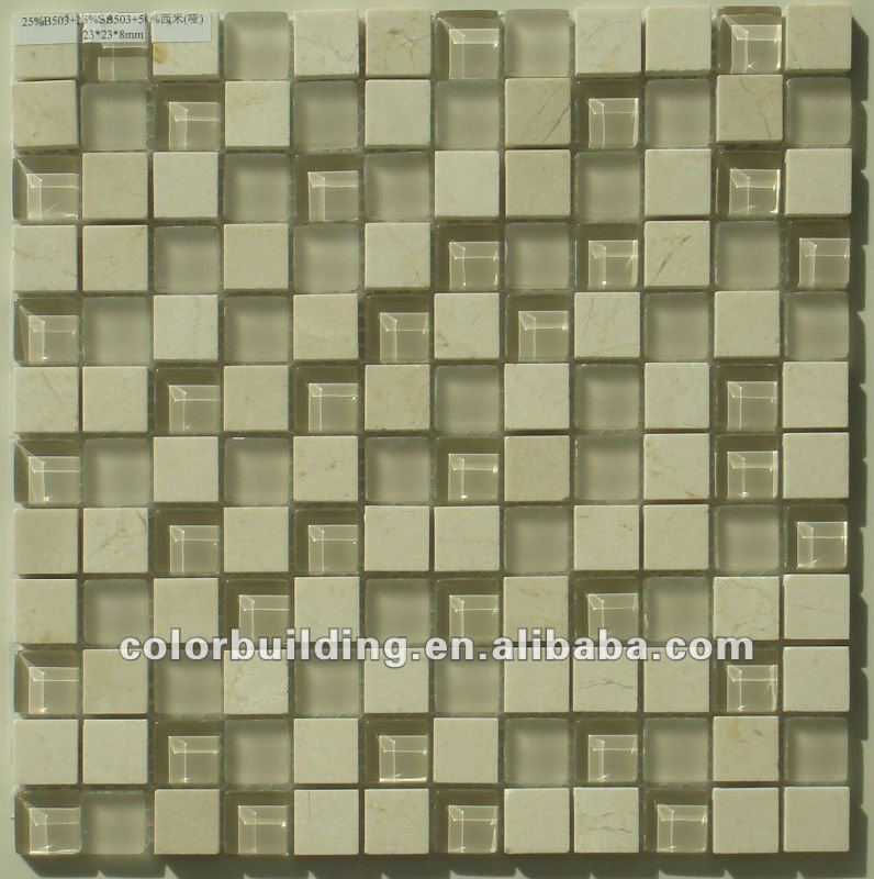 Natural Stone Mosaic Mix Glass Crystal Natural Stone Mixed Tile Health Stone Glass