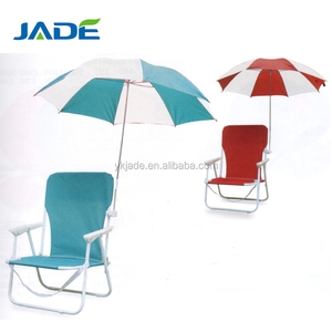 Outdoor furniture kids seat folding reclining beach chair with umbrella 2 seats foldable chair beach camping in bright color