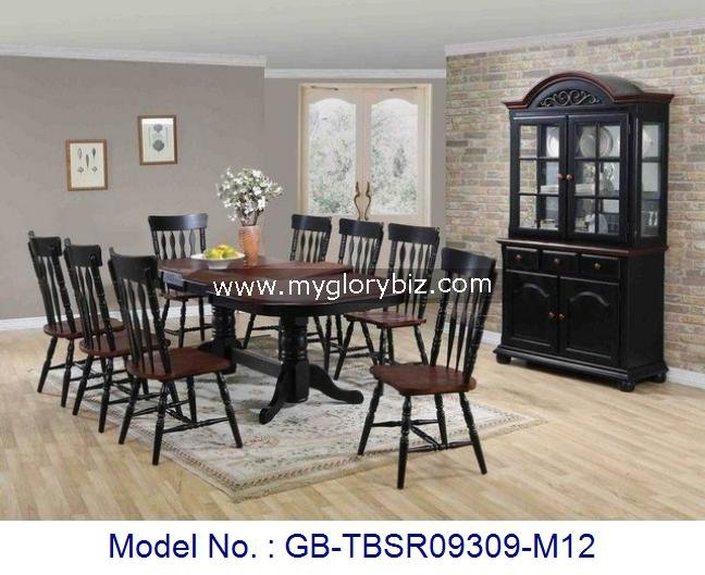 Solid Rubber Wood Malaysia Home Furniture, Wooden Dining Room Furniture With Chairs Table And Side Cabinet, Dining Set & Cabinet