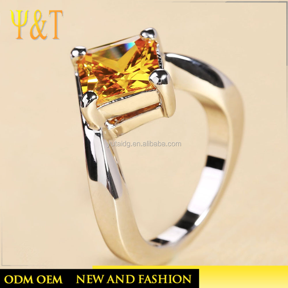 New Fashion high polished Gold Plated Silver Ring Wholesale Silver Jewellery for women