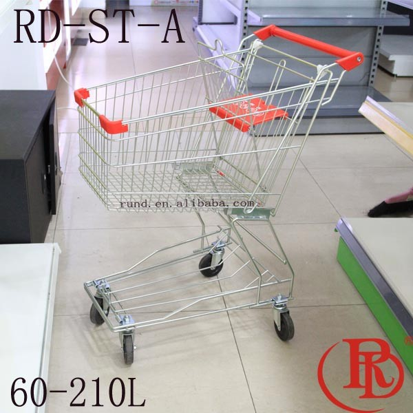 supermarket trolley shopping with double basket folding grocery cart