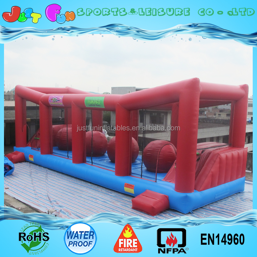 popular big baller games adult inflatable wipeout obstacle course for sale
