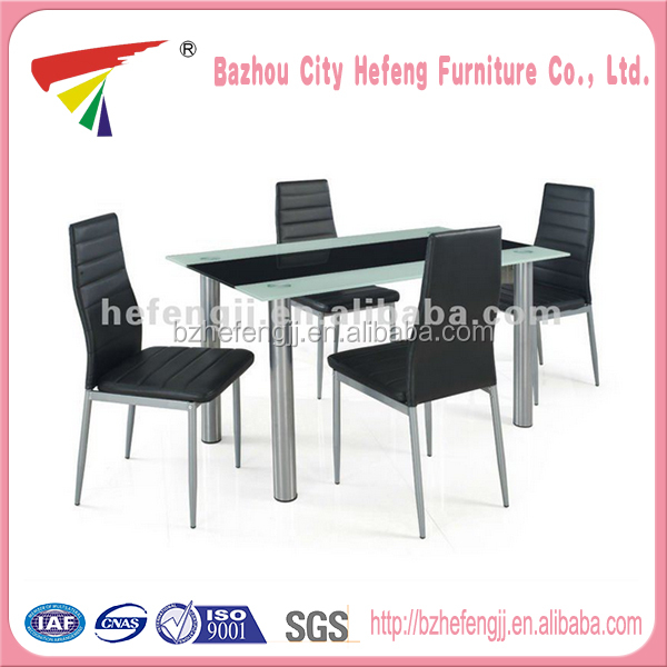 2016 fashion glass stainless steel dining table and chair