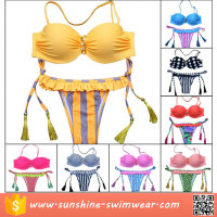 Fashion Design Sexy Lady Halter Fringe Cheeky Bikini Bathing Suit