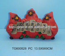 Polyresin red bird with welcome design christmas decoration