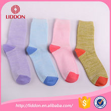 Good quality colorful style cotton socks women with rib wholesale