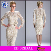 EDM058 Elegant Lace Long Sleeve Beaded Tea Length Mother of the Bride Dresses with Sleeve