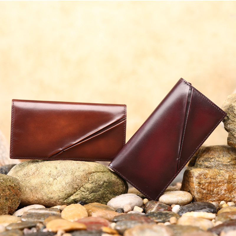 TERSE Handmade patina luxury leather wallet for men antique designer italian calfskin long card case custom design