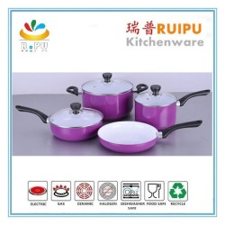 7pcs aluminum white ceramic coating purple color aluminum oil free nonstick cookware sets