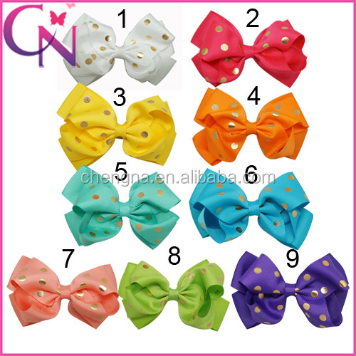 Hot sale Polka Dot Grosgrain Ribbon Hair Bow With Hair Clips For Baby Girls