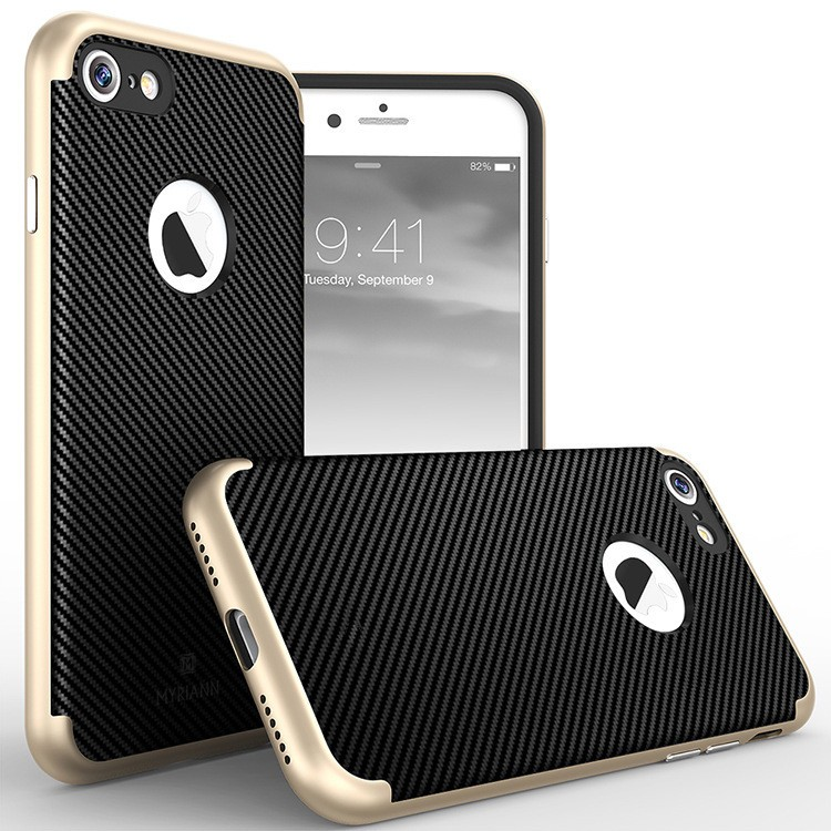 Wholesale Mobile Phone Accessories Case for iPhone 7 Carbon 2 in 1 Case; Free Shipping for iPhone 7 Cell Phone Case