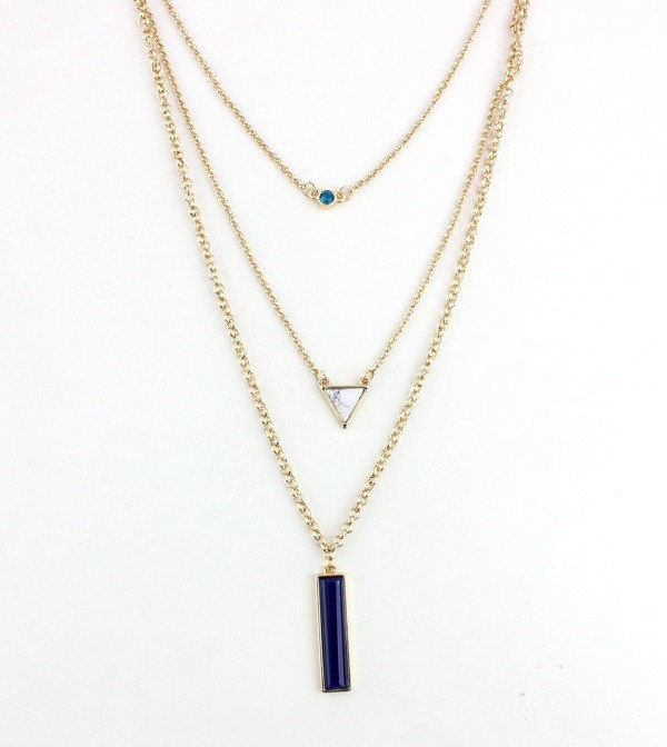Gold Tone Three Layer Fashion Turquoise Triangle Gemstone Bar Layered Necklace