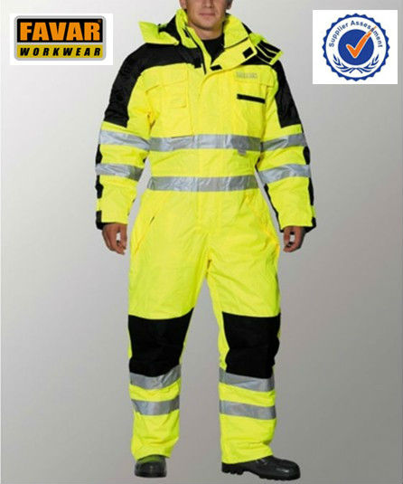 Polyester 300D oxford high visibility waterproof work winter coveralls
