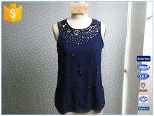 Round Neck Navy Chiffon Summer Loose Tank Top