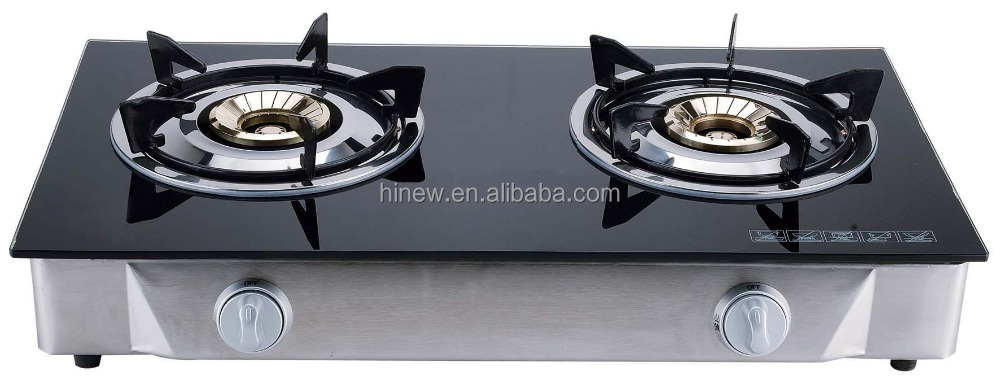 3 burner glass top gas stove with brass burner MSG-792