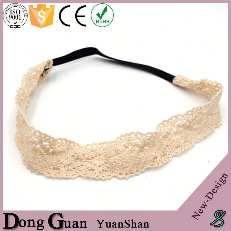 New Full Flower Lace Fabric Knit Braided Headband Macrame Headwrap
