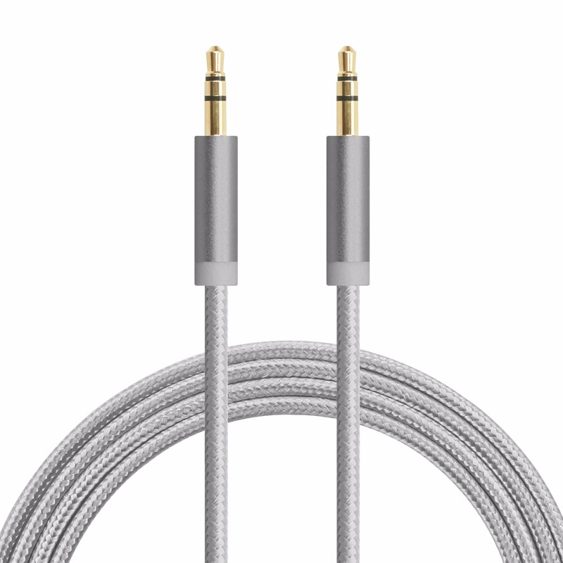 Alibaba top selling 150cm braided AUX cable computer,mp3, car stereo audio cable 3.5mm plug